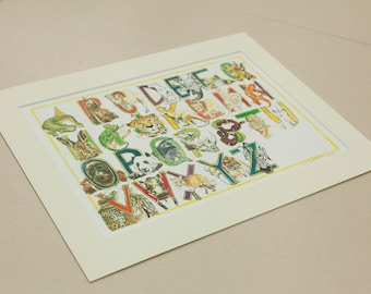 A4/A3 Beasts Illustrated Alphabet, Watercolour Print