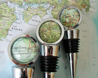 CUSTOM MAP Wine STOPPER / Any Location / Hostess Gift / Housewarming gift / Wedding Favor / Wine Lover Gift / Travel Souvenir / bottle stop