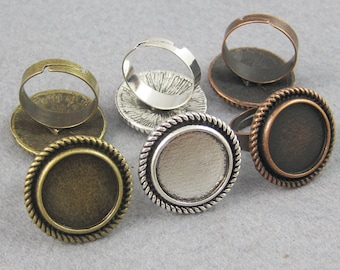 25 Pieces 16mm Round Ring Trays, Round Ring Setting,  Adjustable Blank Ring Blank For Cabochon, Stickers or Stones