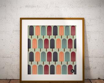 Popsicle art print, Printable art, Printable Popsicle dessert treats wall art, Summer printable, Instant download, digital print, Summer art