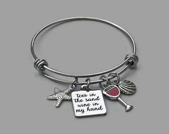 Beach Charm Bracelet, Toes In The Sand Wine In My Hand, Beach Bracelet, Wine Charm, Starfish Charm, Seashell Charm, Stainless Steel Bangle