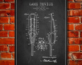 1937 Game Device Patent, Canvas Print,  Wall Art, Home Decor, Gift Idea