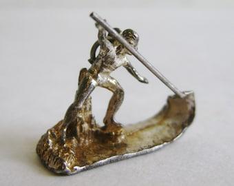 Vintage 50s Exotic Hawaiian Sterling Silver Spearfishing Fisherman Bracelet Charm