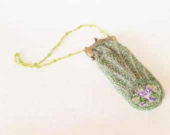 Vintage Beaded and Embroidered Evening Purse - Sage Green with Purple Flowers - Beaded Handle