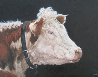 PORTRAIT of a HEREFORD original Oil Painting, Vermont country art, ARCHIVAL Print of original painting & Free Shipping!