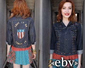 Vintage Jean Jacket Hand Painted Jacket Hippie Jacket Hippy Jacket Vintage 70s Hand Painted Studded Denim Jacket XS S