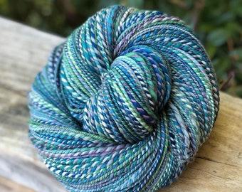 Handspun yarn, pale blue, green, navy, white, aqua purple and royal blue tones, 100% merino wool, malabrigo wool, dk weight, sport weight,