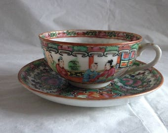 Chinese Rose Medallion Egg-Shell Porcelain Tea Cup and Saucer ~ 1930s