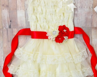 Flower Girl Dress, Ivory Lace Dress Girls, Rustic Flower Girl Dress, Baby Girl Lace Dress, Flower Girl Dress With Red Sash Kids Flower Dress