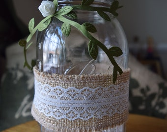 12 Lace Burlap Vine Ball Jars