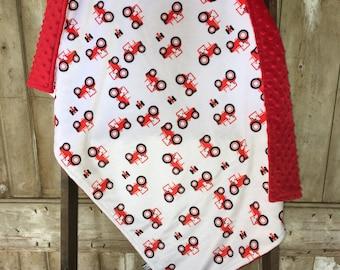 Double Minky Blankets,  Tractor Minky Blanket, Case IH Minky Blanket, Farm Baby Blanket, Baby Minky Blanket, Tractor Crib Bedding