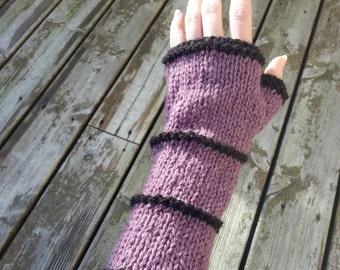 Purple and black arm warmers