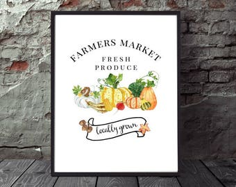 Set of 3 Farmers Market Inspired Fall Autumn Printables, DIY Wall Art, Fall Wall Decor, Watercolor Pumpkins, Gourds, Typography
