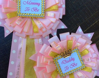 Pink And Gold Baby Shower Mommy To Be Pin And Daddy To Be Pin Girl