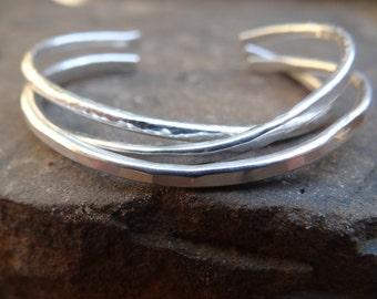 Sterling Silver Cuff, Hammered bracelet, Minimalist Cuffs, Stacking Cuffs, Layering Bracelets, Loveleigh Locket