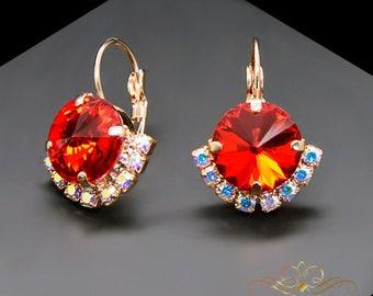 Swarovski Crystal Earrings Statement Earrings Bridal Earrings Bridesmaid Gift Red Earrings Drop Earrings Gift for Her Wedding Jewelry