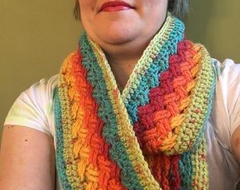 Rainbow Celtic Weave Crochet Infinity Scarf