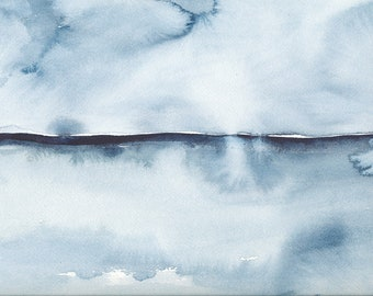 In View, Original Abstract Waterscape Painting, Watercolour, Indigo Blue