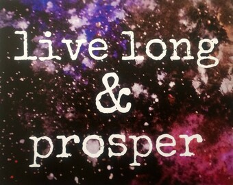 live long & prosper llap space art print 8x10