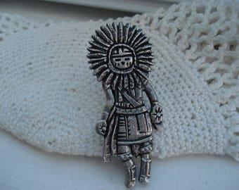 SALE Vintage Native American Silver Sun Kachina Katsina Pin Medicine Totem Fetish Southwest Brooch Artist Signed