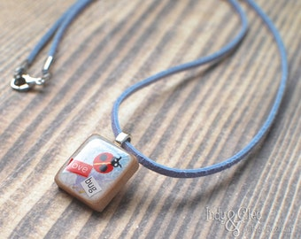 Ladybug Scrabble Necklace, Handmade Scrabble Tile Pendant, Insect Wood Pendant, Bug Jewelry, Spring love bug, Gardener Gift, Tiny Jewelry