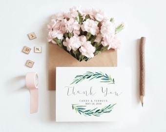 Thank You Card, Wedding Thank You, Thank You Card Template, Eucalyptus Thank You Card printable, Folded Thank You, The Jackie collection
