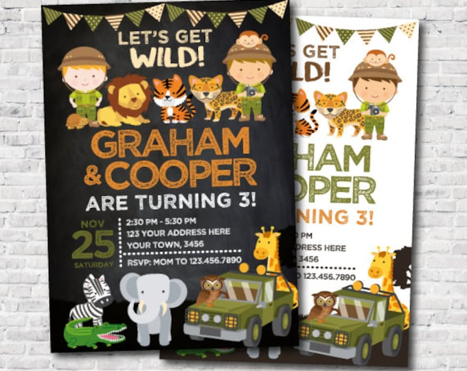 Safari Siblings Birthday Invitation, Jungle Invitation, Zoo Birthday Party, Twins Birthday Invitation, Personalized DIGITAL, 2 Options