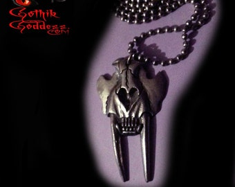 Skull Necklace Animal Sabre Tooth Metal with Ball Chain