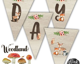 Sweet Woodland Happy Birthday Banner, Rustic Woodland, Woodland Party, Instant Download, Print Your Own