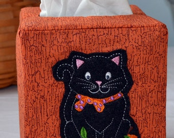 Black Halloween Cat Tissue Box Cover