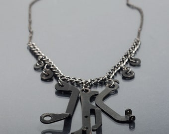 Cyberpunk Industrial Jewelry- Upcycled Typewriter Gunmetal Industrial Necklace, Steampunk Jewelry, Modern Contemporary Jewelry, Dark Fashion