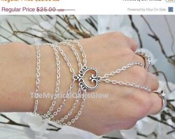 Sale Silver Heart slave bracelet, bracelet ring, silver hand chain, wedding bracelet, heart jewelry, body jewellery, chain finger bracelet,