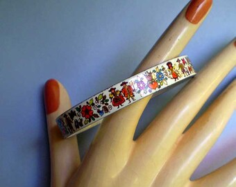 Vintage 60s Enameled Austrian Bangle Bracelet P.M.