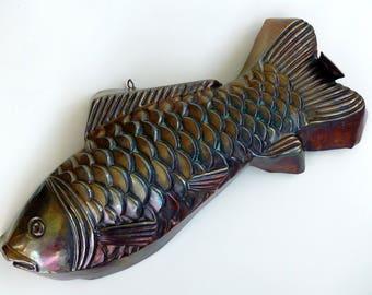 Rare Antique Copper Fish Mold, Wall Hanging Kitchen Decor, French Baking Tin, Metal Fish, Jelly, Jello Tin, Rustic Decor, Decorative Mold,