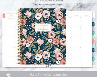 8.5x11 MONTHLY PLANNER notebook | 2018 2019 no weekly view | choose your start month | 12 month calendar | navy pink gold floral