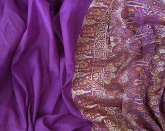 Sari Vintage Sari Silksari Silkbrocade Purple Homedecore Curtain 5 YARD 7 INCH NR 24