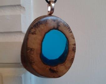 natural burr oak hole blue resin infused necklace pendant