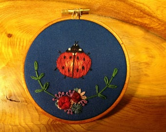 Handmade ladybird floral embroidery 4 inch hoop