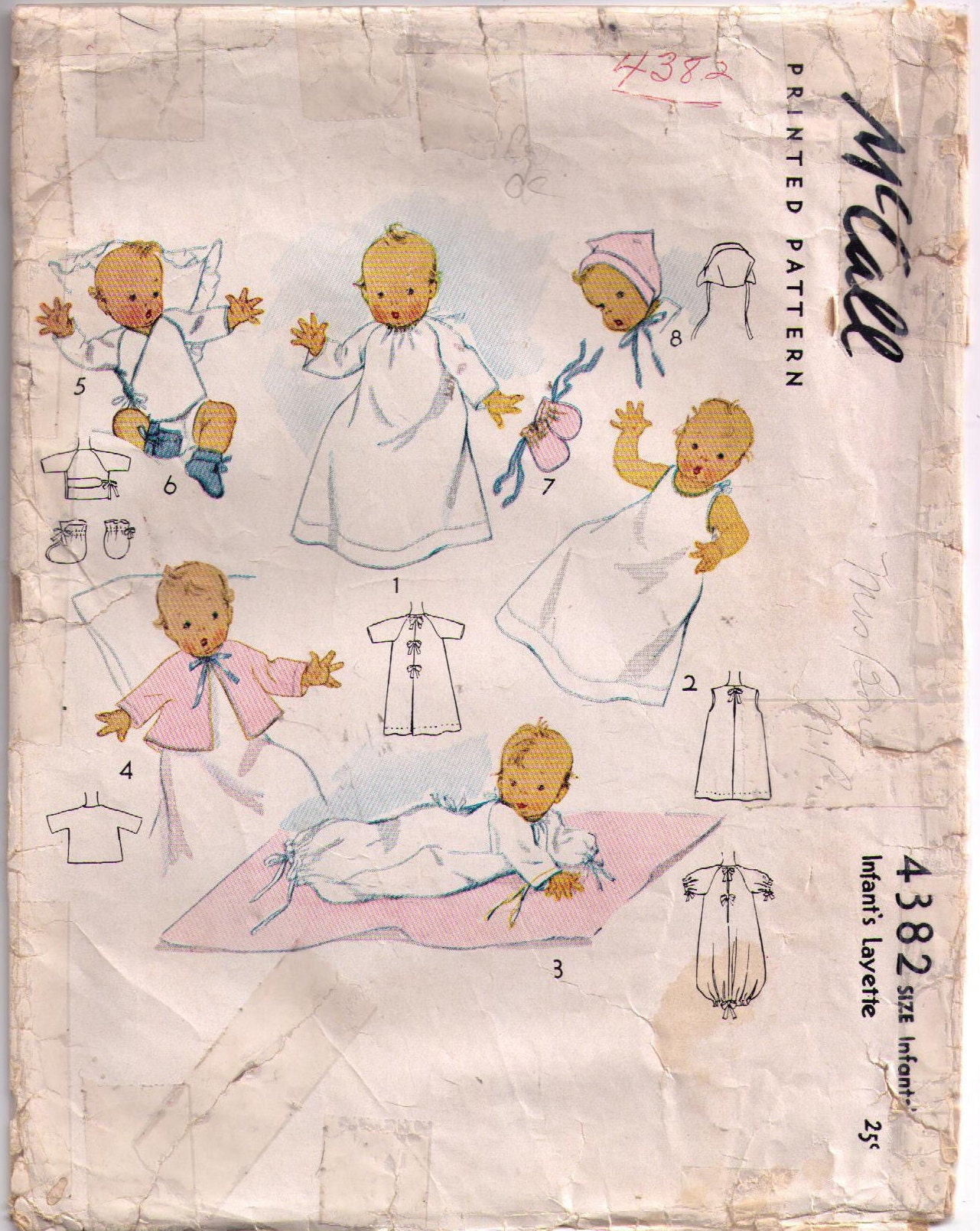Mccalls 4382 40s sewing pattern baby clothes baby booties 657 jeuxipadfo Image collections