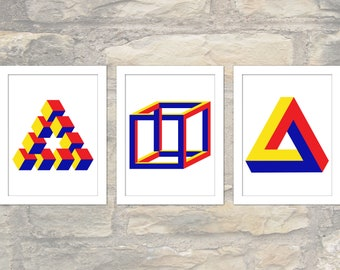 3 impossible geometry posters - Penrose Triangle, Necker Cube, Reutersvard's  in primary Bauhaus colours - Wall Art, Printable PDF+JPG