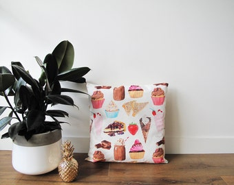 Sweet Treats Cotton Cushion - to fit 45 - 50cm Square Couch Cushion Lounge Room Decor with Fruit Watercolour Illustrations