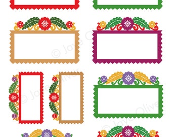 Digital Frame papel picado labels for bottles, gift tags, scrapbooking. Victorian Autumn colors