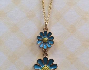 SALE - CLEARANCE - Blue Necklace - Daisy Necklace - Daisy Jewelry - Turquoise Necklace - Flower Necklace - Flower Jewelry - Dainty Jewelry