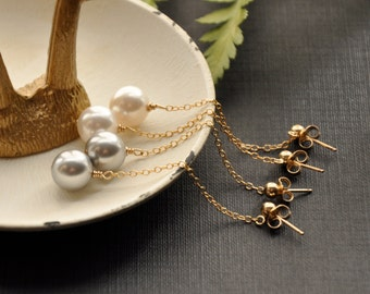 Large Pearl Drop Earrings, Gray Pearl Bridesmaids Jewelry, Gold Chain Post Earrings, Simple Pearl Dangle Earrings