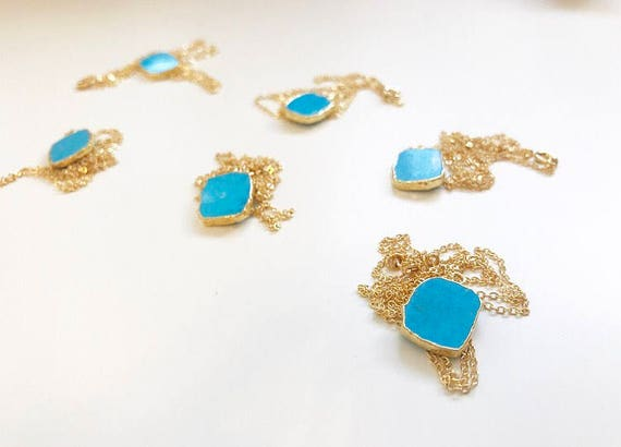 Laura Necklace // delicate turquoise gold plated boho necklace