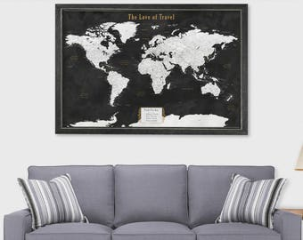 Cork world map etsy push pin map world map cork board paper anniversary gift for husband push pin travel map sciox Image collections