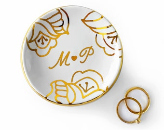 White and Gold Ring Dish, Floral Monogrammed Personalized Heart Jewelry Dish -  Ring Holder, Anniversary, Engagement Gift, Modern Mud