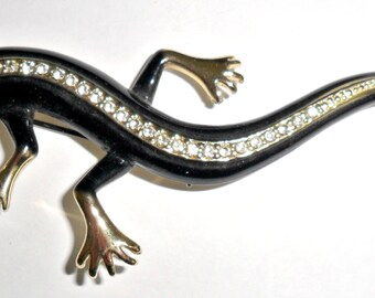Huge wild vintage goldtone and black enameled salamander or lizard statement figural brooch with clear rhinestones
