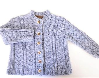 Baby-Jacke Light Blue Kinder Strickjacke stricken Strickjacke stricken Pullover Alpaka Strickjacke handgemachte Pullover Custom Farbe des Kabels und Strickwaren Größe