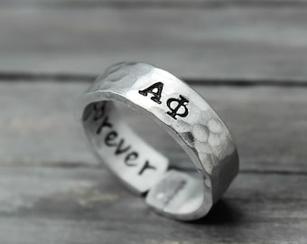 Alpha Phi Ring, Hammered Sorority Ring, personalized jewelry, hand stamped ring, handstamped jewelry, Sorority Jewelry